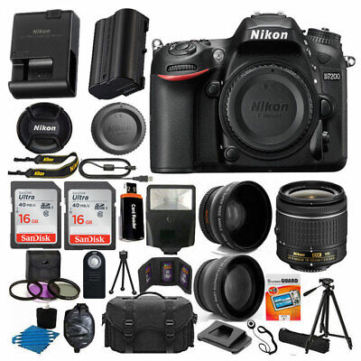 Nikon D7200 Digital SLR Camera Body 3 Lens Kit 18-55mm Lens + 24GB Best