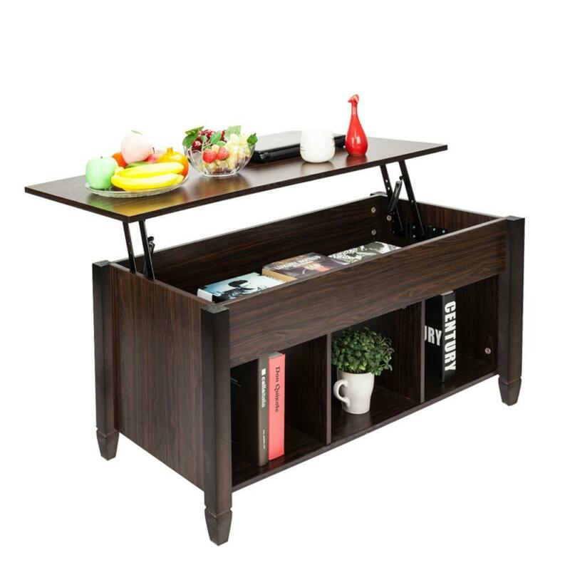 Lift Top Coffee Table w/ Hidden Compartment and Storage Shelves Brown Furniture
