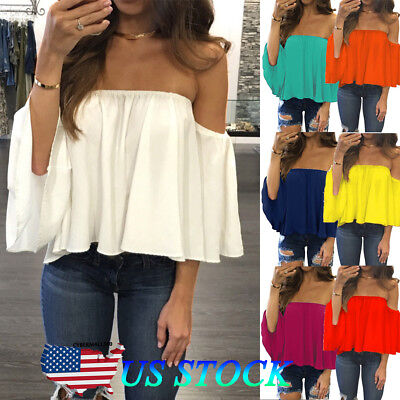 Womens Off Shoulder Blouse Sexy Strapless Top Ladies Frill Crop Tops Vest