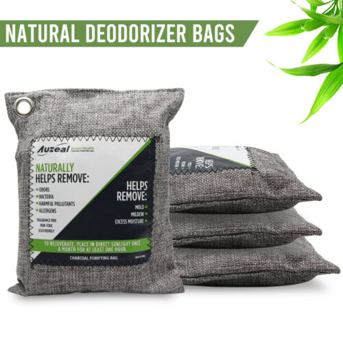 4 X Nature Fresh Air Purifier Bag Style Charcoal Bamboo Purifying Mold Odor 200g Air Fresheners