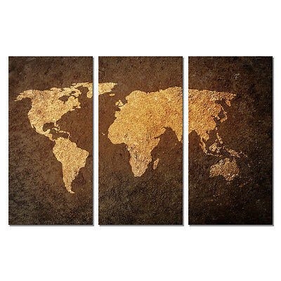 Canvas Print Wall Art Home Decor Painting Picture World Map 3pcs Brown Abstract
