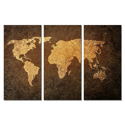 - Canvas Print Wall Art Home Office Deco Painting Picture World Map Brown Abstract