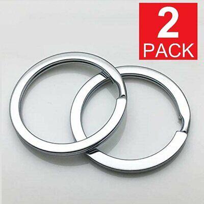2-Pack Rustproof  30mm Flat Key Rings Chains Split Ring Metal Steel Silver Collectibles