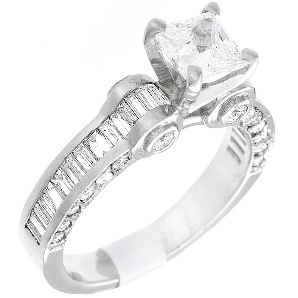 GIA Certified Diamond Engagement Ring 2.66 CTW Princess Cut 14k White Gold