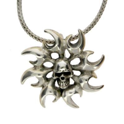 Sterling Silver Skull Pendant Charm Sun Shape Tribal Flames Men's -