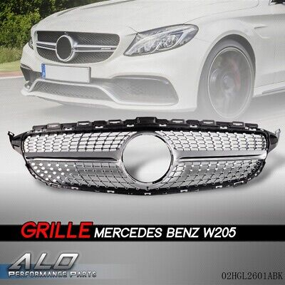 For 2015-18 Mercedes Benz W205 C Class C250 C300 C400 Front Grille Diamond Grill