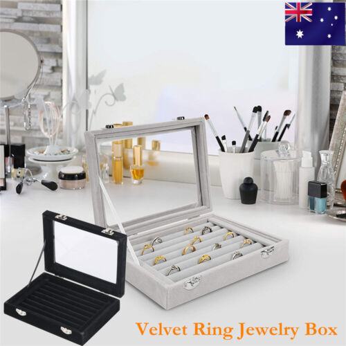 Jewellery - Velvet Ring Earring Jewelry Display Organizer Box Tray Holder Storage Show Case
