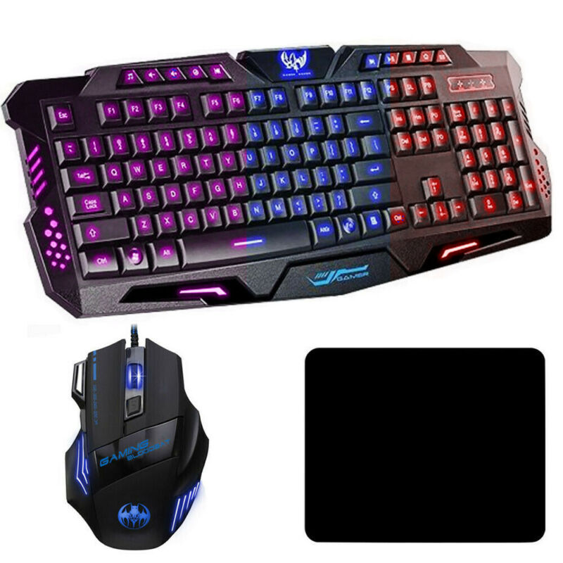 LED Gaming Keyboard an Mouse Set Mechanical Feel Breathable Light Backlit for PC