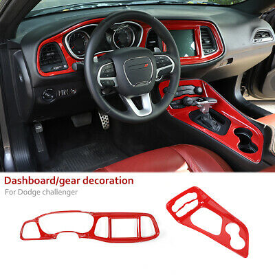Car Dashboard Cover & Gear Shift Panel Trim Kit for Dodge Challenger 2015+ Red