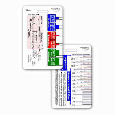 EKG Ruler Vertical Badge ID Card Reference Pocket Guide RN Nurse Paramedic ECG