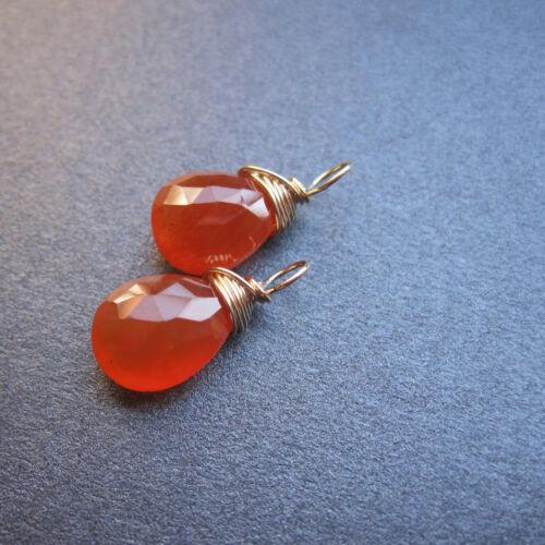 2 Carnelian Gemstone Wire Wrapped Drops