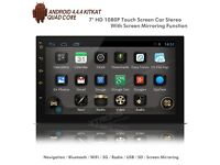 """7"""" HD 1080P Android Navigation WiFi Internet USB SD Double Din Car Stereo + Screen Mirror"""