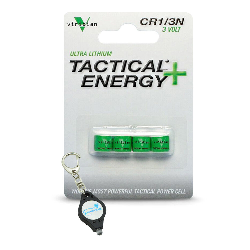 Viridian CR1/3N 3V Lithium Battery - 4-Pack w/ Keychain Light