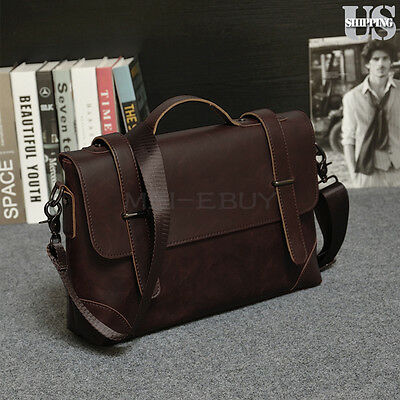 Men's Briefcase Casual Business Shoulder Bag Leather Messenger Handbag Satchel