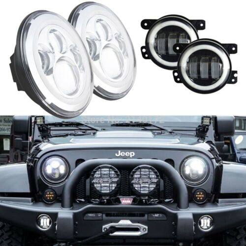 For 1997 2017 Jeep Wrangler Jk Lj Tj Cj Halo Led Headlight