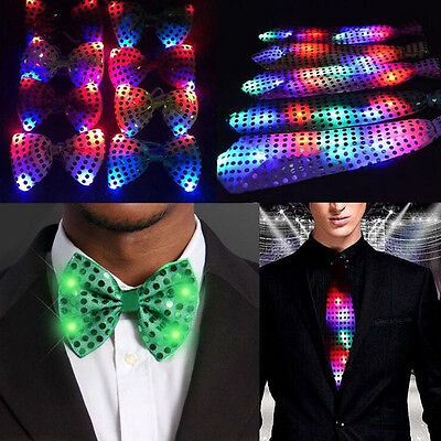 Men Bowtie Necktie LED Flashing Lights Up Sequins Tie For Suit Wedding Gift - Led Bow Tie