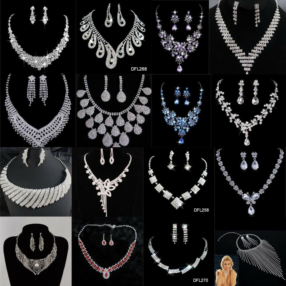 Jewellery - Shinning Prom Wedding Bridal Jewelry Crystal Rhinestone Necklace Earring Sets