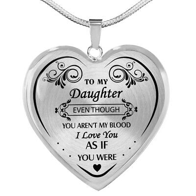 To My Daughter Necklace From Step Mom Dad - Step Daughter Unique Necklace Gifts ()