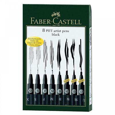 Faber Castell Pitt Artist Pens Black Drawing Artist Fineliner Set of 8 Pens Art