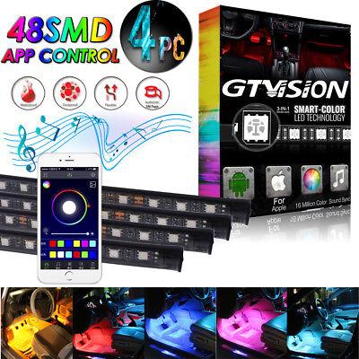 Car Interior RGB 16 Color 48 LED Neon Strip Light USB Wireless APP Music Control