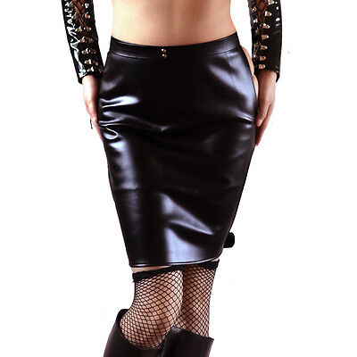 Open Bum Check Restraint Pencil Skirt Wet Look Leather Look Sexy (Bum Kostüme)