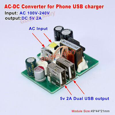 Mini AC-DC Converter AC 110V 220V 230V to DC 5V 2A Dual USB Phone Charger Module