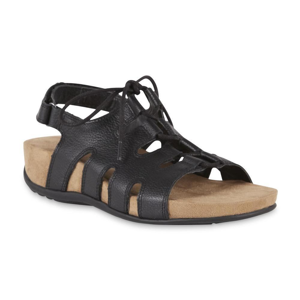 Cobbie Cuddlers Women's Maizie Black Lace-Up Sandal Shoes Sz