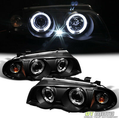 Blk 1999-2001 BMW E46 3-Series Sedan 323i 328i 330 LED Halo Projector Headlights Bmw E46 3 Series Sedan