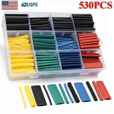 530 Pcs Heat Shrink Tubing Tube Assortment Sleeving Wrap Wire Cable 8 Size 21