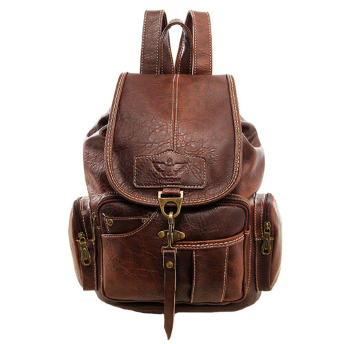 Vintage Womens Leather Backpack Shoulder School Shoulder Sat