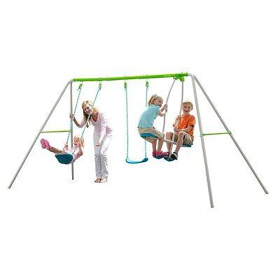 Aquagreen Four Way Swing Centre, Childrens Outdoor Garden Multi Swing Set Frame