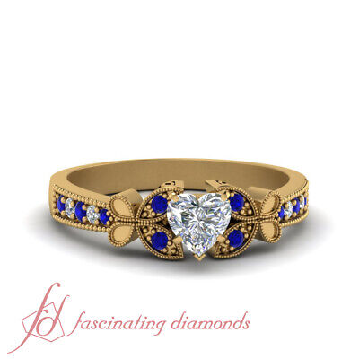 1 Carat Heart Shape Diamond & Sapphire Nature Inspired Butterfly Engagement Ring