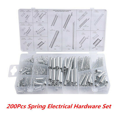 200 Pcs Steel Spring Electrical Hardware Extension Tension Springs Pressure Set