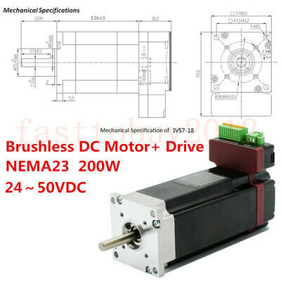 200w Integrated Brushless Dc Servo Motor Drive Nema23 Bldc 2450vdc Low Voltage