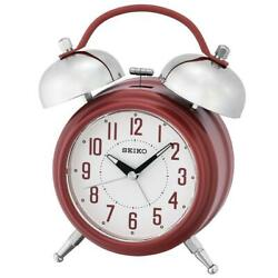 Seiko QHK051R Large Bell Lumibrite Hands Alarm Clock with Snooze Arabic Numerals