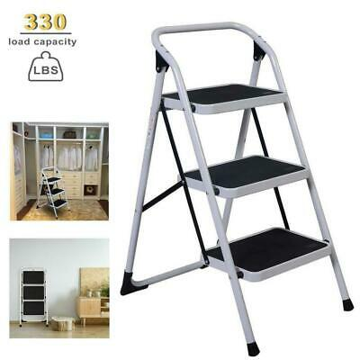3 Steps Ladder Folding Non Slip Safety Tread Heavy Duty Indu