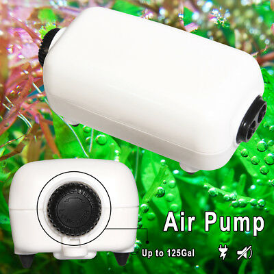 Fish Tank Air Pump Two Outlets Adjustable Aquarium Fish Tank 65GPH 125 Gallons