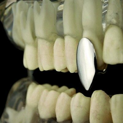 Vampire Fang Single Cap Grill Silver Tone One Canine Tooth Fangs Dracula Grillz - Silver Vampire Fangs