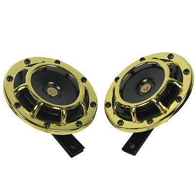 GOLD SUPER LOUD BLAST TONE GRILL MOUNT 12V ELECTRIC COMPACT CAR HORN 335HZ/400HZ for sale  Rowland Heights