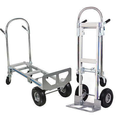 2 In 1 Aluminum Hand Truck 770lbs 51inch Height Convertible Foldable 4wheel Cart