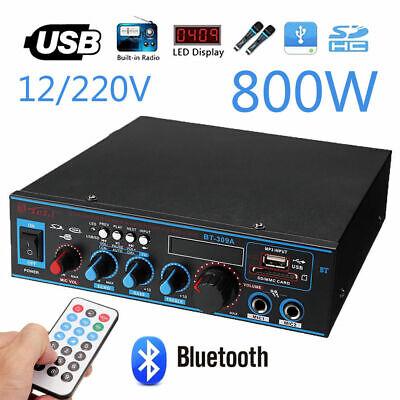 12V/220V 800W HiFi Bluetooth Audio Auto Amplifier Verstärker Stereo USB FM SD (Auto Usb-audio)