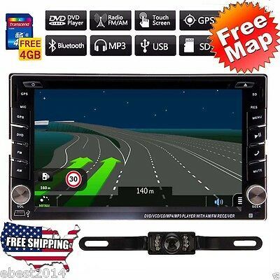 Car DVD Player 2DIN In Dash GPS Navigation+Map TV+Bluetooth+Radio Stereo+Camera