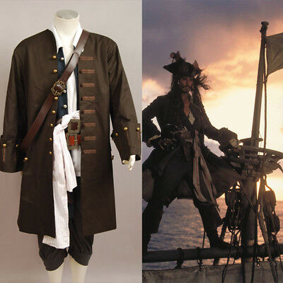 Pirates of the Caribbean Jack Sparrow Cosplay Costume Halloween Outfit Coat Set (Pirates Of The Caribbean Jack Sparrow Costume)