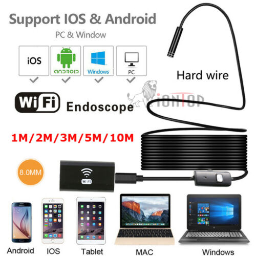 HD 1200P 2MP WIFI USB Endoscope Camera Rigid Cable for Android for iPhone SM