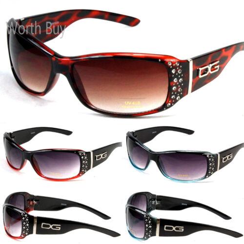 New WB Eyewear Womens Rhinestones Wrap Sunglasses Designer Fashion Shades Retro