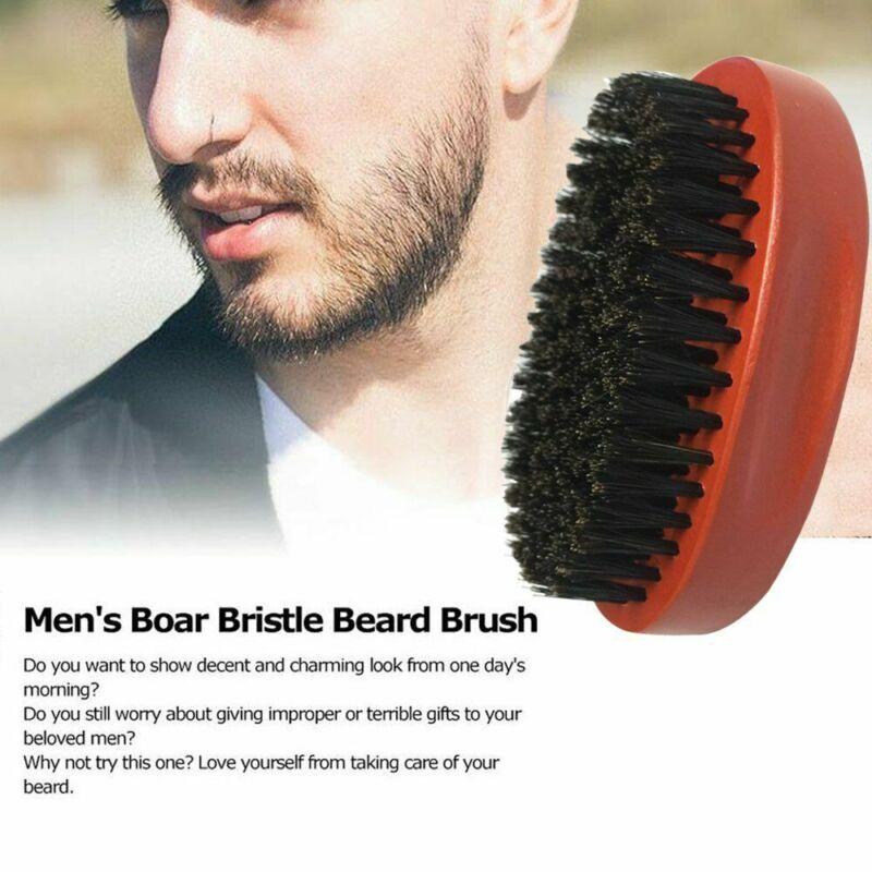 Pro Men's Boar Hair Bristle Beard Mustache Oil Brush Militar
