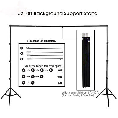 10Ft Heavy Duty Adjustable Photography Background Support Stand Kit With - Backdrop Photography