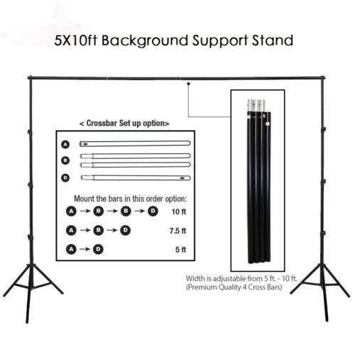Купить Kshioe - 10Ft Heavy Duty Adjustable Photography Background Support Stand Kit With Case