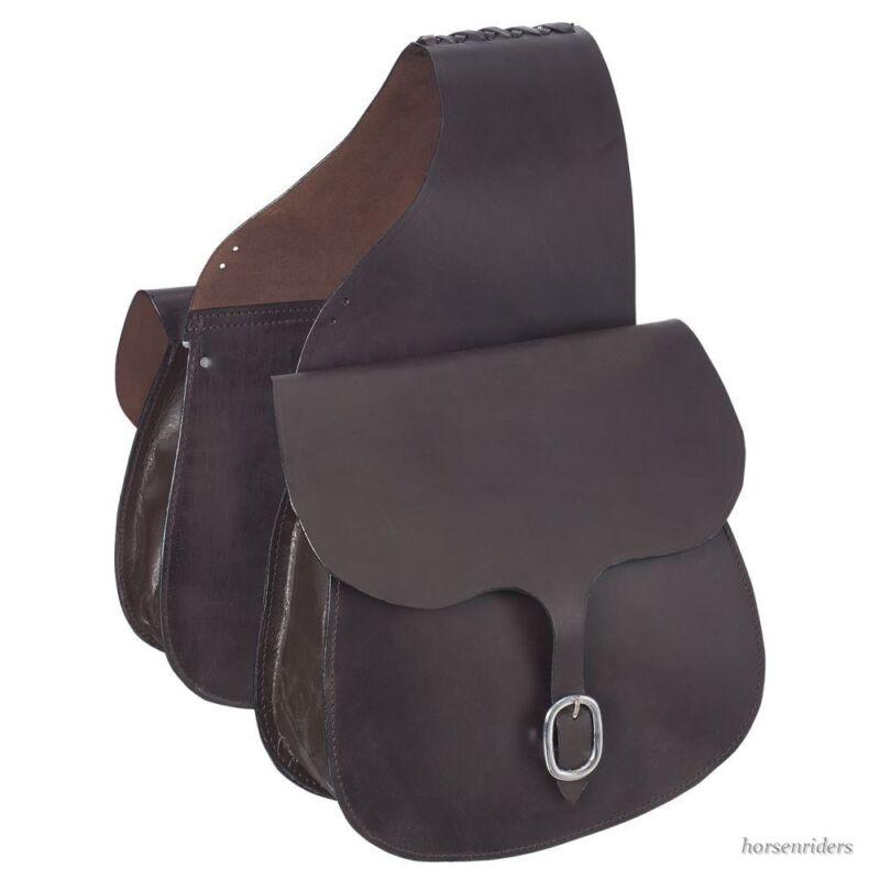 Western Saddle Bags - Dark Oil Leather