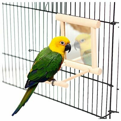 Bird Toys Mirror with Wooden Frame & Bell For Cage Budgie Canary-Small Birds Pet